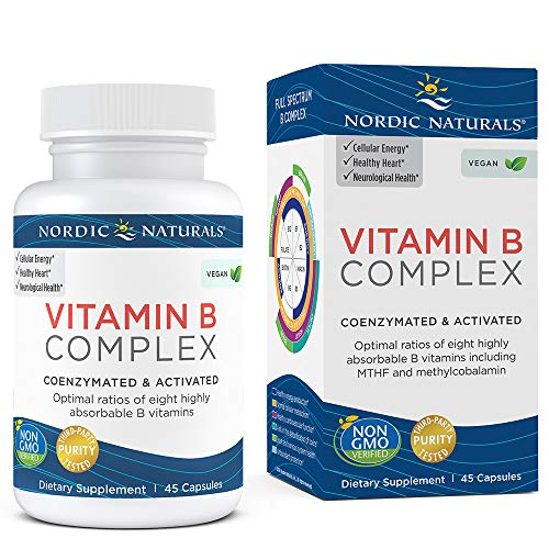 Nordic Naturals Vitamin B Complex - Coenzymated and Activated, Supports Daily Cellular Maintenance*, Non-GMO and Certified Vegan - 45 Count