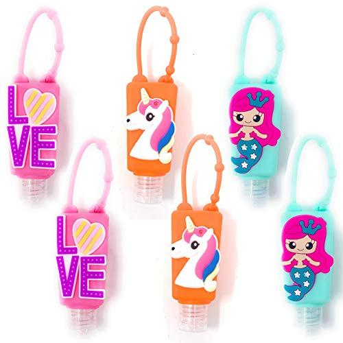 Botellas de Viaje Portátiles para niños,  Contenedor Desinfectante de Manos,  Botellas De Viaje Llavero, Mini Botella de Viaje Vacía para Rellenable Gel 30ml # 6 Piezas (Love Sirena Unicornio)