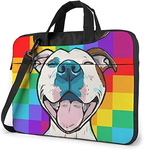 Maletín Funda para Ordenador Portátil Tablero de ajedrez Paiting Pitbull Dog Smile Portadocumentos Maletines y Bolso Bandolera para Portátil 13/14/15.6 Pulgadas