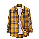 Camicia Camicie Magliette Maglia Maglietta Camicia Camicetta Top Uomo Moda Casual Stampa Plaid Bottone Manica Lunga (XXL,Giallo)