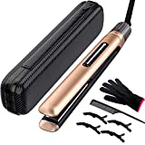 Mixcolor Professional Hair Straightener Flat Iron, Ceramic Tourmaline Nano Titanium Plate Fast Heating-up with Rotating Adjustable Temp 265 to 450℉. Dual Voltage Straightening Iron.