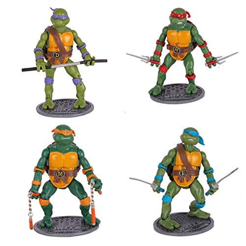 LINRUS Figuras de Tortugas Ninja Mutantes Adolescentes, Juego de 4 Juguetes Modelo de Tortugas Ninja, Juguetes Coleccionables, Juegos de Figuras de Acción de Tortugas Ninja (6.29 Pulgadas)
