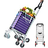 Devo Stair Climbing Cart Heavy Duty,Shopping Carts for Groceries with Tri-Wheels,Swivel Handle,Utility Shopping Cart for Mom