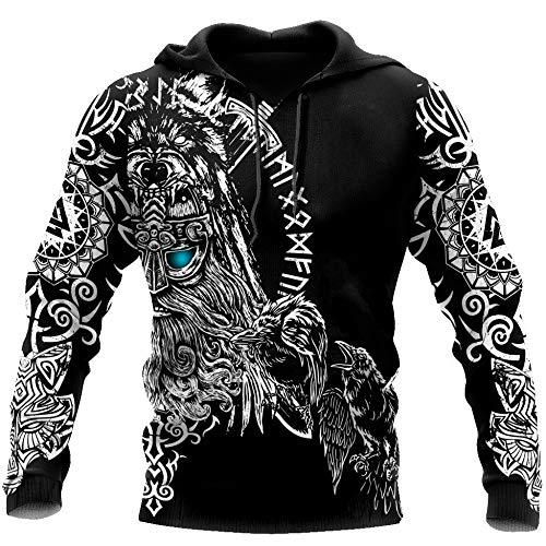 YOROOW Sudadera Capucha 3D Viking Odin Tattoo, Todas Las Sudaderas para Hombre Impresas Casual Manga Larga Jersey Unisex Chaqueta Zip,Hoodie,L