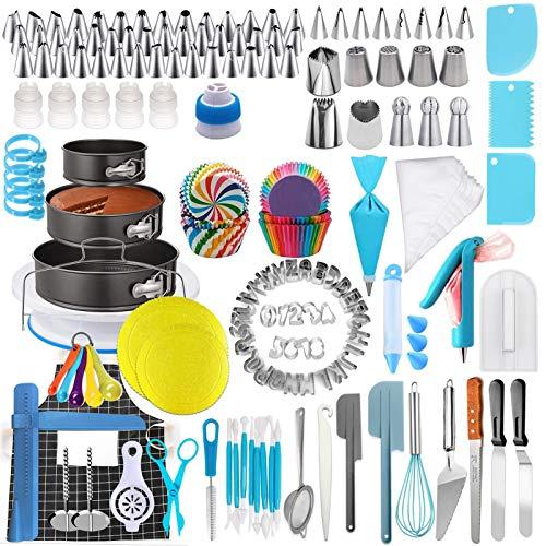 458 Stück Tortenplatte Drehbar Tortendekoration Set Zubehör zum Dekorieren von Kuchen, Backzubehör, Gebäckwerkzeug