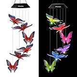 HiSolar Butterfly Solar Wind Chime Color Changing Solar Mobile Light Waterproof LED Wind Chime Solar Powered Wind Mobile Colorful Light for Home Party Yard Garden Decoration(Red Blue)