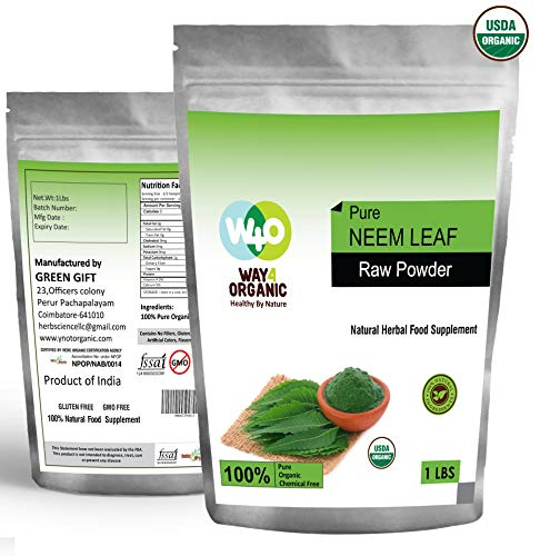 Organic Neem Powder 16 Ounces(1 Pound) - USDA Certified Organic. No Preservative and All Natural - Way4Organic