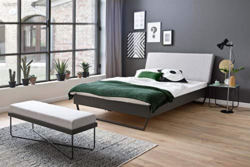 möbelando Metallbett Einzelbett Bett Jugendbett Kompaktbett Boston 140x200 cm grau-beige