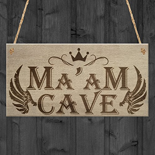 RED OCEAN Ma'am Cave She Shed Mum Garden Sister Woman Cave Hanging Plaque Friendship Sign
