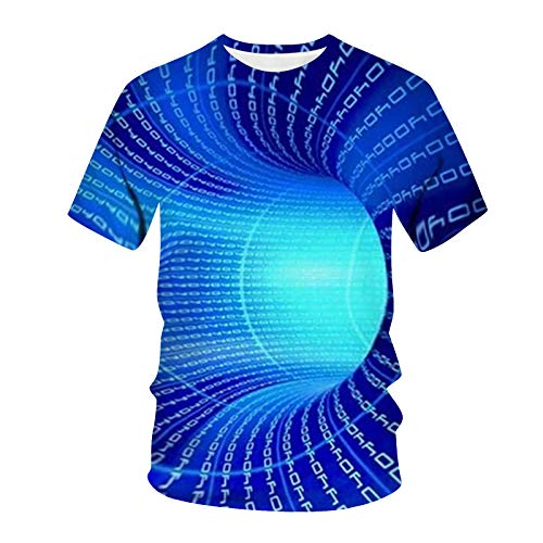 MRURIC Unisex T-Shirt 3D Druckten Rundhals Tee Vintage Shirt, Sommer Kurzarmshirt Kurzarm Top Lässige Bunt Herren Frauen Hemd T-Shirts
