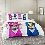 NDISTIN Juegos de Fundas para edredon,Ropa de Cama,Jack Russell Couple of Dogs Relaxing Beauty Mask in SPA Wellness Center Moisturizing Cream and Cucumber,Fibrae Xtrafina,Edredones y 2 Almohadas
