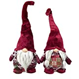 Coppia Gnomi Natalizi da Interno Maschio e Femmina Pupazzi Fermaporta Decorativo Altezza 75 cm Dis.10 Rosso