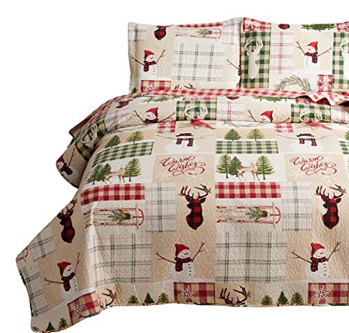 Yc Christmas Quilt Set Cabin Moose Bedspread Rustic Lodge Deer Coverlets Lightweight Kids Festive Bed Covers Twin Size