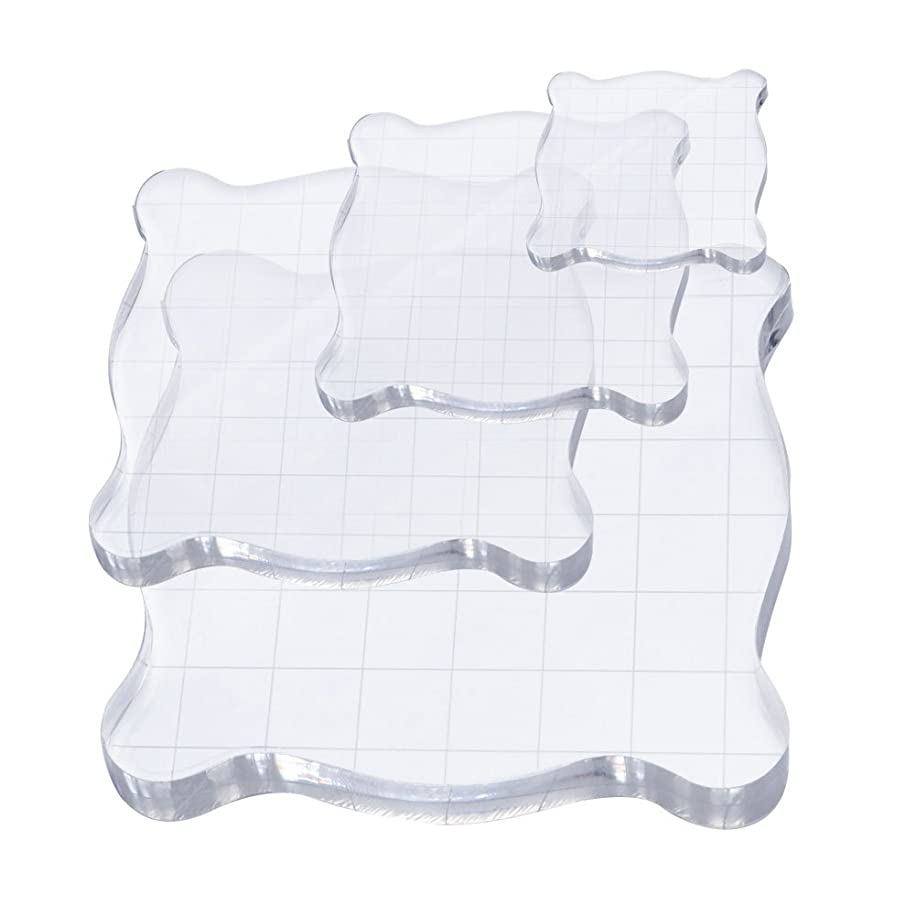 CIEHER 4 Pieces Stamp Blocks with Grid Lines Acrylic Clear Stamping Blocks, Essential Stamping Tools for Scrapbooking Crafts Making