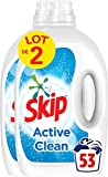 SKIP Lessive Liquide Active Clean, Résultats impeccables même en cycle court - 106 Lavages (Lot 2x53 lavages)