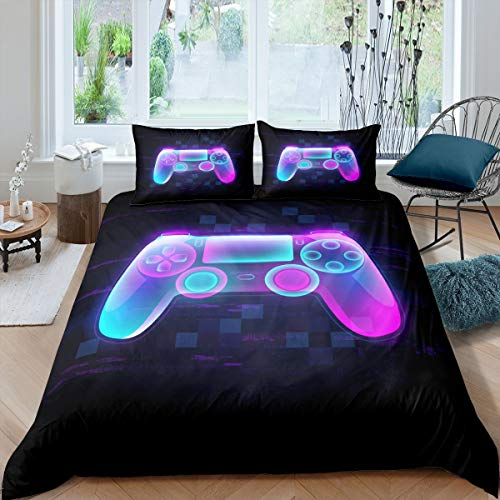 Gamepad Bedding Set Boys Teen Game Console Duvet Cover Video Game Controller Player Gaming Comforter Cover Modern Fashion Style Quilt Set,1 Duvet Cover with 1Pillow Cases, Sci-Fi Purple Single