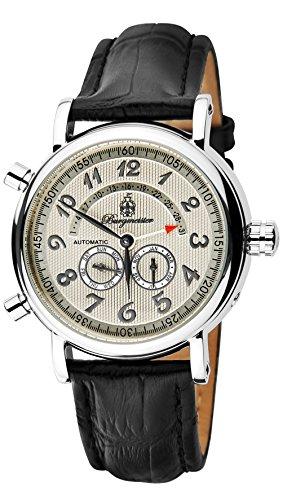Burgmeister Armbanduhr für Herren mit Analog Anzeige, Automatik-Uhr und Lederarmband - Wasserdichte Herrenuhr mit zeitlosem, schickem Design - klassische Uhr für Männer - BM105-112 Nevada