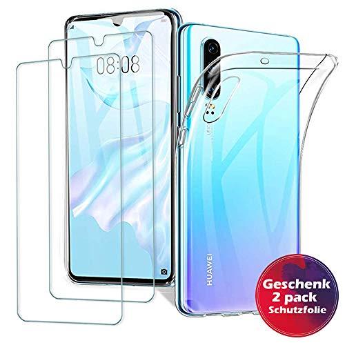 Huawei P30 Hülle Panzerglas ,[ 1 Handyhülle 2 Panzerglas] Schutzhülle [Ultra Dünn] Folie Glas 9H Panzerglasfolie TPU Silikon Hülle Cover Tasche Schale Transparent Crystal für Huawei P30