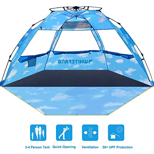 Beach Tent, Pop Up Instant Family Tent with UPF 50 Sun Protection, 3-4 Person Automatic & Windproof Sun Shelter Cabana with Carrying Bag (Limited Edition-Cloud Print)