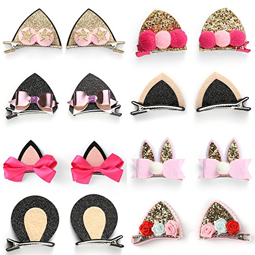 OneDor Sparkle Shiny Sequin Animal ear Hair Bow Ribbon Clip sets for Babies, Toddlers, Young Girls, and Children (8 Pairs)