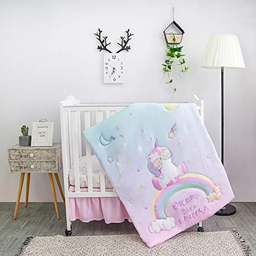 La Premura Unicorn Baby Nursery Mini / Portable Crib Bedding Set for Girls – Baby Unicorn & Rainbows 3-Piece Crib Sets in Pink, Yellow & Green