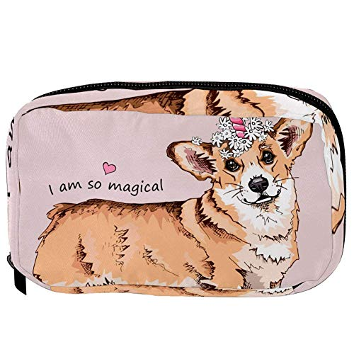 TIZORAX Cosmetic Bags Dog With A Pink Unicorn Horn Handy Toiletry Travel Bag Organizer Makeup Pouch for Women Girls