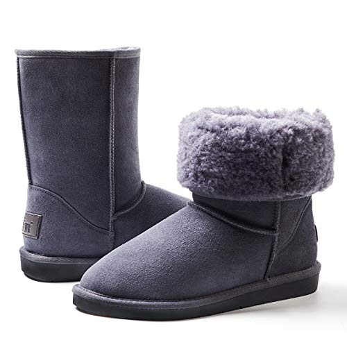 ZGR Women's Classics Winter Snow Boots Cow Suede Leather Mid-Calf Fur Lined Warm Shoes Outdoor Ankle Booties (Gray, US9)