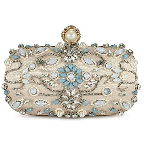 Women Beaded Rhinestone Evening Clutch Wedding Purse Vintage Beige