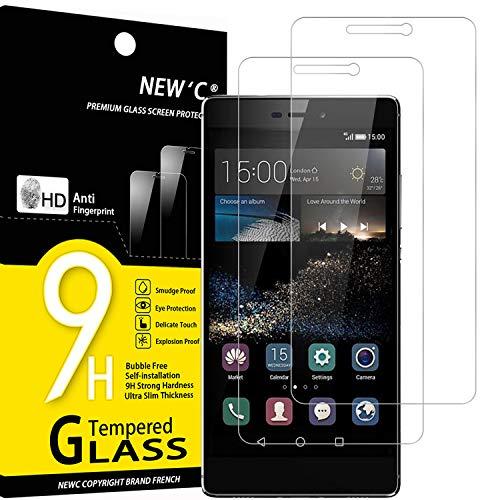 NEW'C 2 Stück, Schutzfolie Panzerglas für Huawei P8, Frei von Kratzern, 9H Festigkeit, HD Bildschirmschutzfolie, 0.33mm Ultra-klar, Ultrawiderstandsfähig