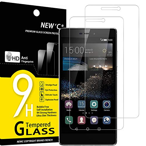 NEW'C 2 Stück, PanzerglasFolie Schutzfolie für Huawei P8, Frei von Kratzern Fingabdrücken & Öl, 9H Festigkeit, HD Bildschirmschutzfolie, 0.33mm Ultra-klar, Ultrawiderstandsfähig