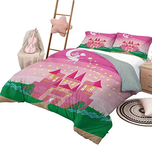 Juego de edredón de colcha para niñas Magic Fantasy Fairy Tale Princess Castle con Pixie in Sky Fictional Dream Kingdom Chic Home Juego de funda nórdica rosa verde con 2 fundas de almohada, tamaño gem