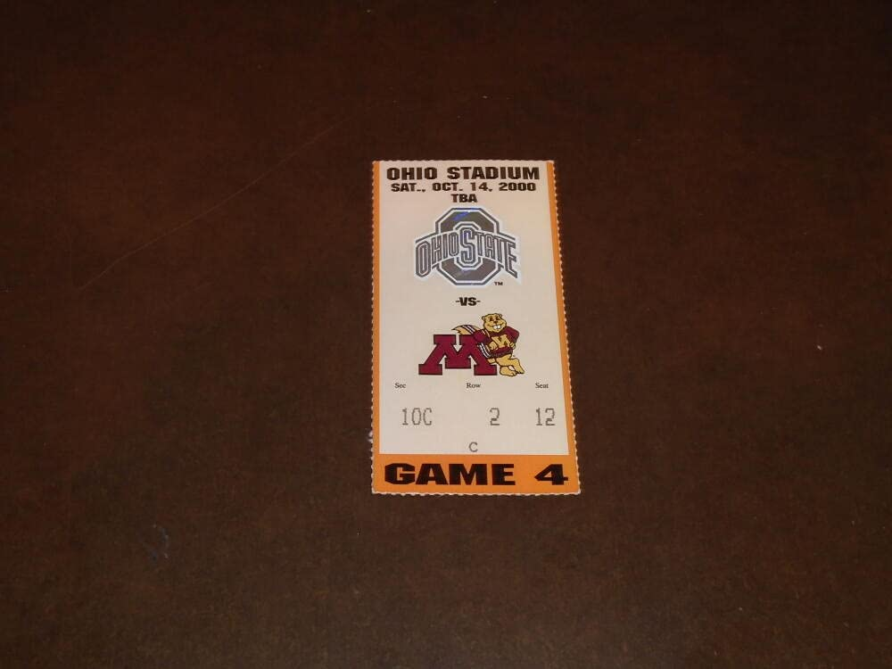 2000 Excellent MINNESOTA AT OHIO STATE OFFicial store TICKET STUB FOOTBALL