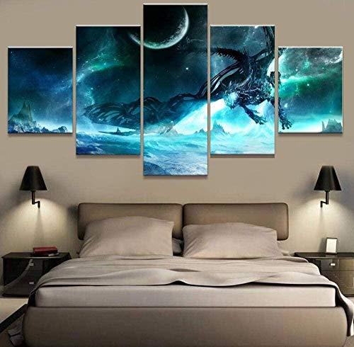 bnkrtopsu 5 Cuadro en Lienzo 5 Fotos Juntas en una Sala de Estar Dormitorio Creativo murales Decorativos y Carteles(Sin Marco) Dragón Rey Exánime