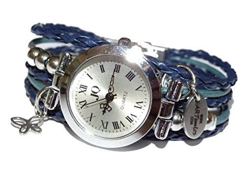 ARTemlos® Handmade Damen-Uhr aus Edelstahl, Metall und Leder in dunkelblau/petrol