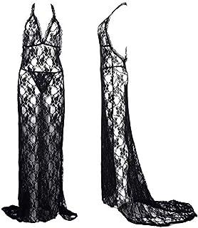 IngerT Women Nightwear Bow Spaghetti Straps Open Front Sexy Lingerie Dress