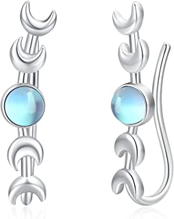 Moonstone Moon Climbers Earrings for Women S925 Sterling Silver Moon Phase Ear Cuffs Crawler Cartilage Earrings Crescent M...