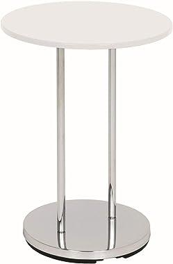 Haku Möbel 33360 Table Basse d'Appoint Tube d'Acier Chromé/Blanc