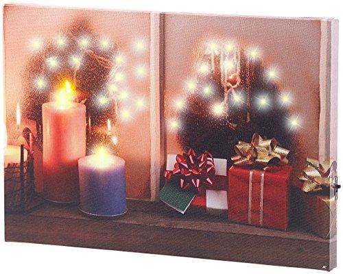 infactory LED Weihnachtsbilder: Wandbild Weihnachtliches Fenster mit LED-Beleuchtung, 30 x 20 cm (Beleuchtete Bilder)