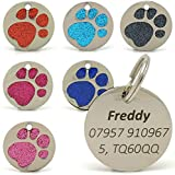 <span class='highlight'>Personalised</span> Engraved 25mm Glitter Paw Print <span class='highlight'>Tag</span> BOLD BLACK LETTERING <span class='highlight'>Dog</span> Cat Pet <span class='highlight'><span class='highlight'>ID</span></span> <span class='highlight'><span class='highlight'>Tag</span>s</span> (Light Blue)