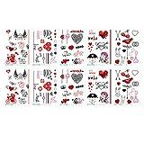Beaupretty 10 Hojas Pegatinas de Tatuaje Del Día de San Valentín Amor Corazón Diseño Cuerpo Pegatinas Impermeables Pastas de Tatuaje para Adultos