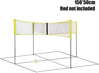 Ranjaner Four Square Volleyball Net, Portable Cross Volleyball Net 4 Way, Adjustable Training Net Cross Badminton Net for Gardens, Beaches, Swimming Pools, Party