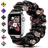 DigiHero Bracelet de montre élastique pour Apple Watch 38 mm, 42 mm, 40 mm, 44 mm, tissu imprimé doux pour femme avec iWatch...