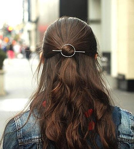Leiothrix Vintage Alloy Silver Circle Hair Clip for Women and Girls on any Occasion