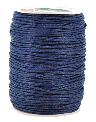 Mandala Crafts 2mm 109 Yards Jewelry Making Beading Crafting Macramé Waxed Cotton Cord Rope (Navy Blue)