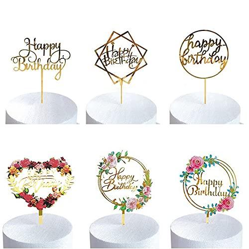 6 Stück Blumen Happy Birthday Cake Topper Kuchendeckel Geburtstagspartys Glitzer Dekoration Kinder, Hochzeit, Mutter,Mädchen Tortenstecker Geburtstagsdeko für Dekoration