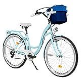 Milord. Bicicletta Comfort Azzurro a 7 velocità da 28 Pollici con cestello e Marsupio Posteriore, Bici Olandese, Bici da Donna, City Bike, retrò, Vintage