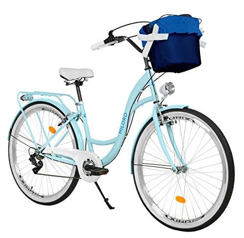 Milord. Vélo Confort, Bleu Clair à 7 Vitesse de 28 Pouces avec Panier et Porte-Bagages arrière, vélo néerlandais, vélo pour Femme, vélo de Ville, rétro, Vintage