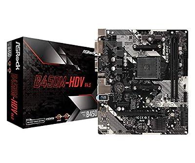 ASRock B450M-HDV R4.0 Socket AM4/ AMD Promontory B450/ DDR4/ SATA3&USB3.1/ M.2/ A&GbE/MicroATX Motherboard