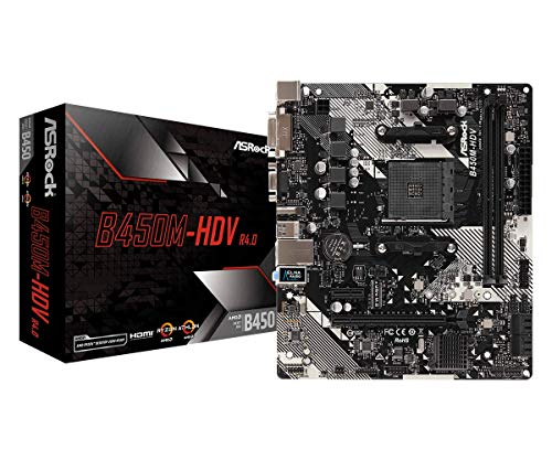 Asrock B450M-HDV R4.0 Carte mère Emplacement AM4 Micro ATX AMD B450 - Cartes mères (AMD, Emplacement AM4, AMD Ryzen, DDR4-SDRAM, DIMM, 2133, 2400, 2667, 2933, 3200 MHz)