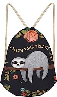 Showudesigns Sloth Gympack String Sack Drawstring Backpack for Women Beach Shopping